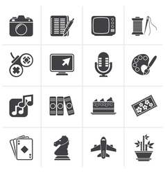 Black hobbies and leisure icons vector