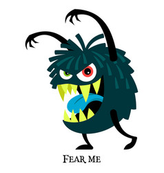 Blue scary monster for t-shirt design vector