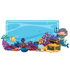 Border template with mermaid and fish underwater vector