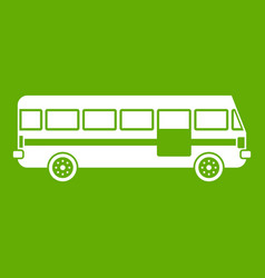 Bus icon green vector