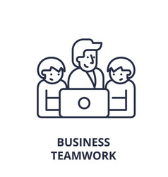 business teamwork line icon concept business vector image