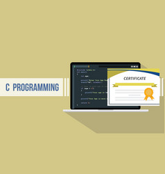 c programming language with certificate paper vector image
