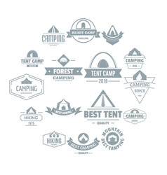 Camping tent logo icons set simple style vector