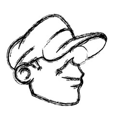 cartoon young head guy graffiti sketch vector image