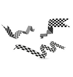 Checkered racing flag ribbon on vector