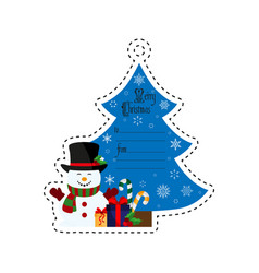 christmas tree and snowman with gifts gift tag vector image