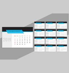 Clean blue 2019 calendar template vector