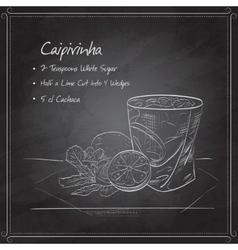 Cocktail Caipirinha on black board vector image