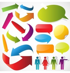 color arrows speech bubbles and people icons vector image