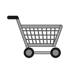 Colorful image cartoon metallic shopping cart with vector