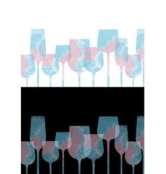 colorful pastel wine glass with pink and blue vector image