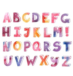 Colorful watercolor hand drawn alphabet vector