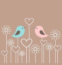 couple cute birds with flowers and hearts vector image