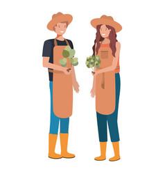 Couple gardeners smiling avatar character vector