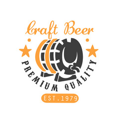 craft beer logo template with barrel and stars vector image