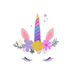 cute unicorn modern magical greeting card poster vector image