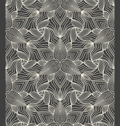 Detailed linear engraving abstract floral pattern vector