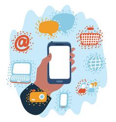 digital marketing media in virtual screen vector image