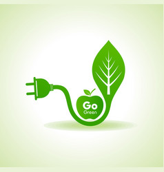 eco energy concept with leafplug and green apple vector image