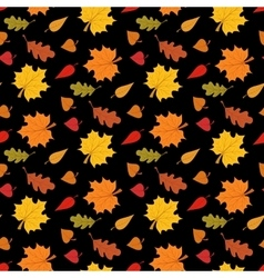 Fall season seamless pattern with leafs on black vector