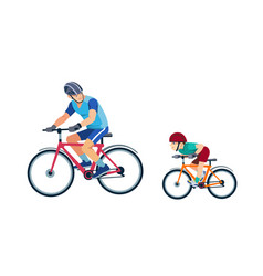 father teaches son to ride a bike kid learns to vector image