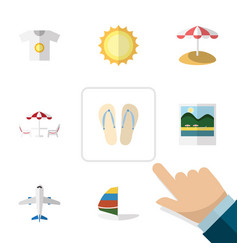 Flat icon season set of reminders beach sandals vector