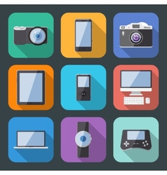 Flat Style Electronics Gadget Icon Set vector