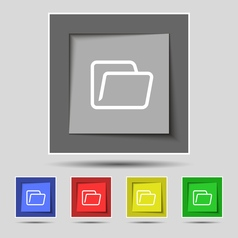 Folder icon sign on original five colored buttons vector image