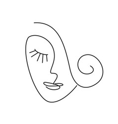 Girl logo one line vector