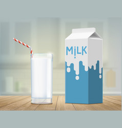 Glass with milk on the table package design vector