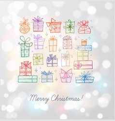 greeting card with colored christmas doodle gift vector image