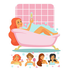 grooming and pampering beauty routine women vector image