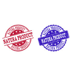 Grunge scratched natura product stamp seals vector