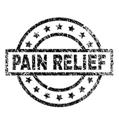 Grunge textured pain relief stamp seal vector