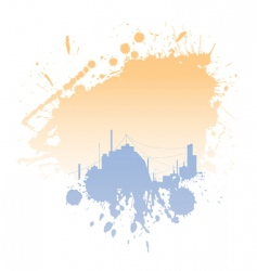 grungy blot with city silhouettes vector image