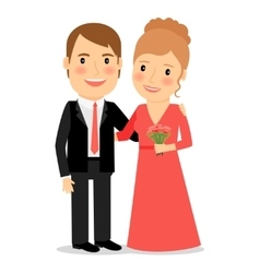 Happy couple with bouquet vector image