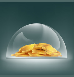 Heap of gold coins under the glass dome savings vector