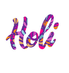 holi colorful calligraphic lettering poster vector image