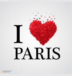 I love paris heart sign vector