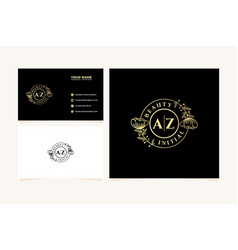 Initial az letters hand drawn feminine and floral vector