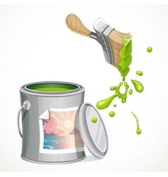Iron bank with paint and brush splashes of green vector