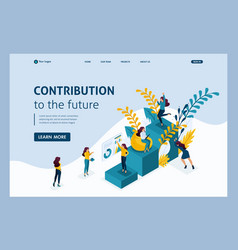 Isometric landing page contribution to future vector