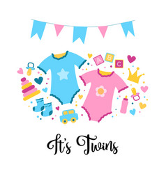 It is a twins baby shower card baby things vector