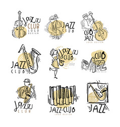 Jazz club labels set vintage hand drawn vector