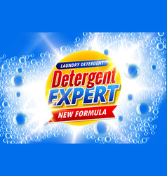 Laundry detergent template ads banner with soap vector