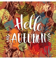 Lettering design with abstract autumn seamless vector image