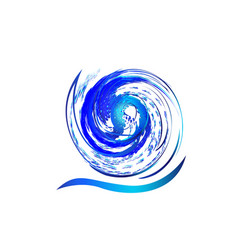 Logo blue spiral waves vector