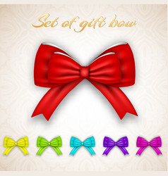 luxury gift ribbon bows set vector image