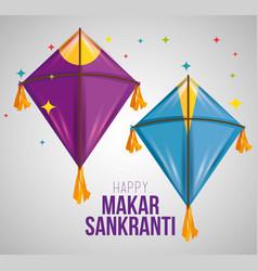 Makar sankranti ceremony with creative kites vector