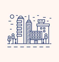 modern cityscape outline blue vector image